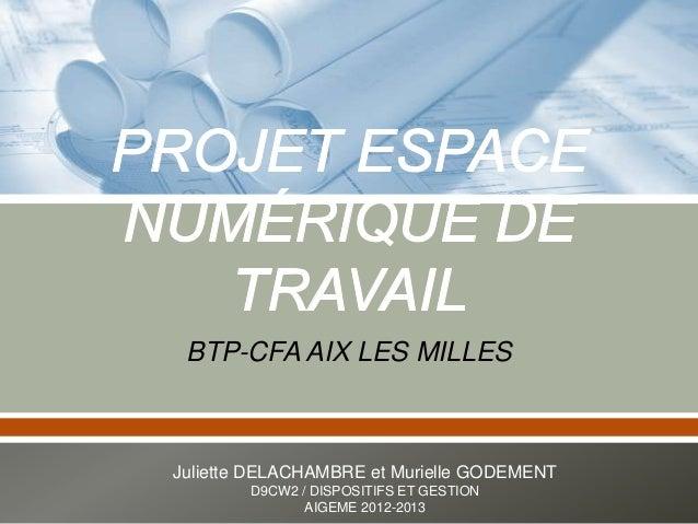 BTP-CFA AIX LES MILLES Juliette DELACHAMBRE et Murielle GODEMENT D9CW2 / DISPOSITIFS ET GESTION AIGEME 2012-2013