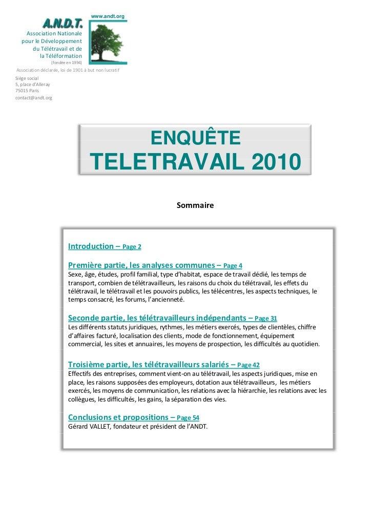 www.andt.org     Association Nationale   pour le Développement       du Télétravail et de          la Téléformation       ...
