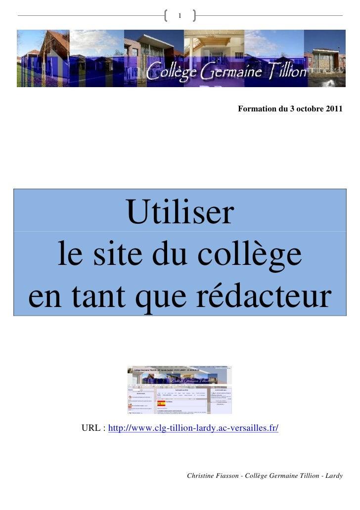 Tutoriel - Publier sur le site du collège (spip)