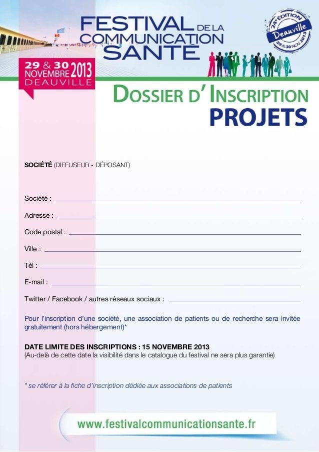 Dossier inscription projets Festival de la Communication Santé 2013