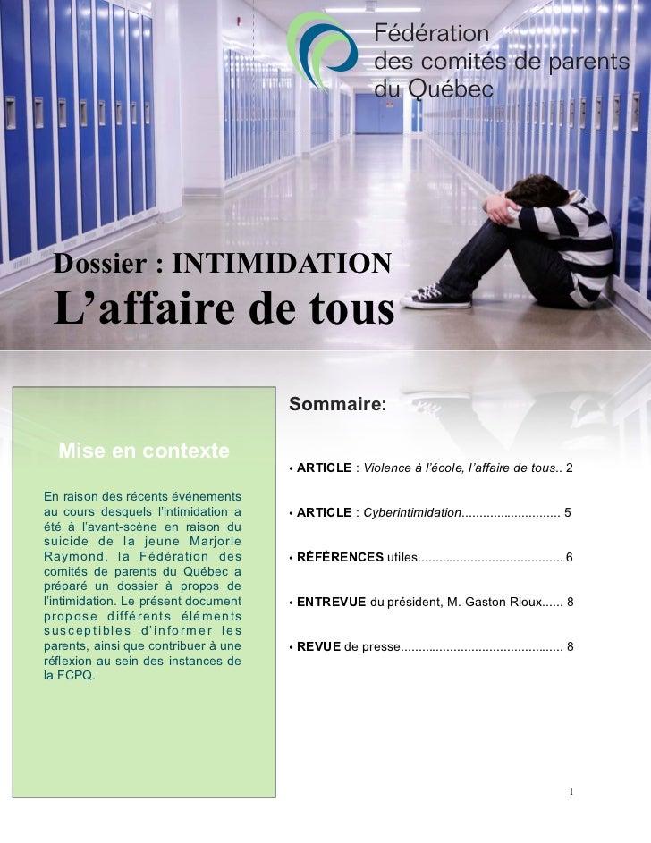 Dossier : INTIMIDATION L'affaire de tous                                      Sommaire:  Mise en contexte                 ...