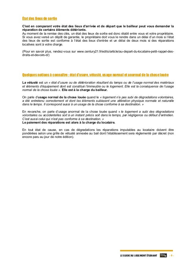 Le guide du logement etudiant par century 21 edition for Bail meuble duree
