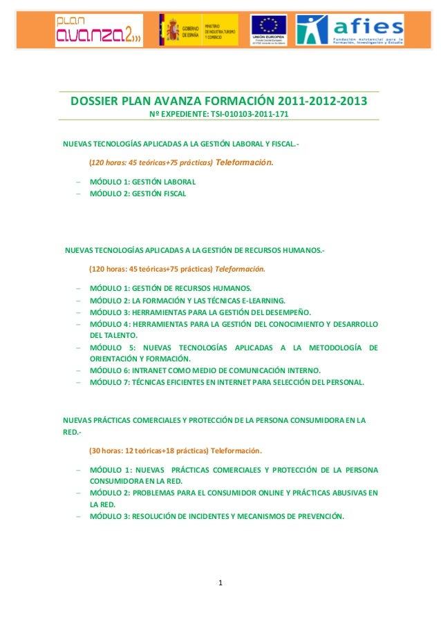 Dossier plan avanza formación 2011-2012-2013
