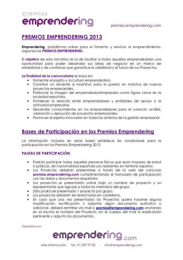 premios.emprendering.comOrganizado por:Más información: Tel.: 91 297 97 00 - info@emprendering.comPREMIOS EMPRENDERING 201...