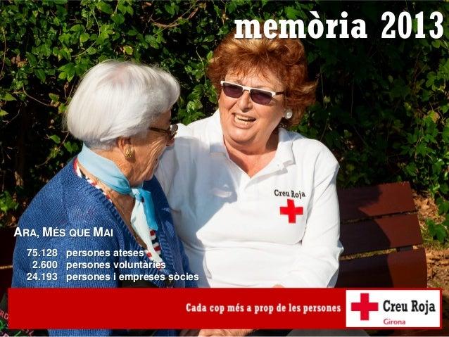 memòria 20131 memòria 2013 ARA, MÉS QUE MAI persones ateses persones voluntàries persones i empreses sòcies 75.128 2.600 2...