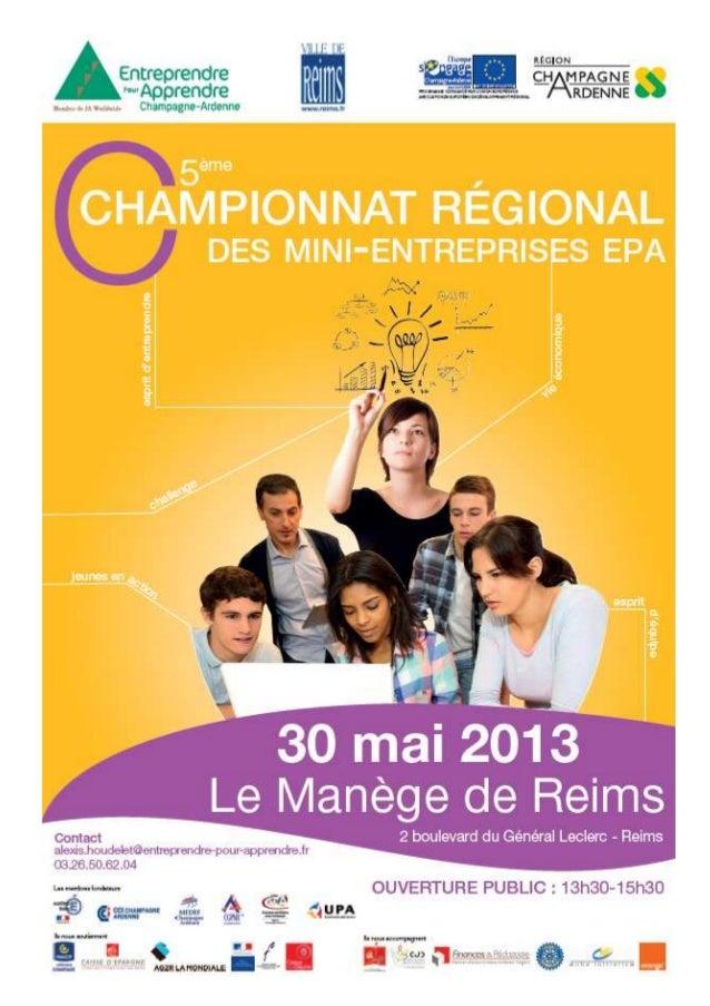 Entreprendre pour Apprendre Champagne-ArdenneDossier de presse 20131