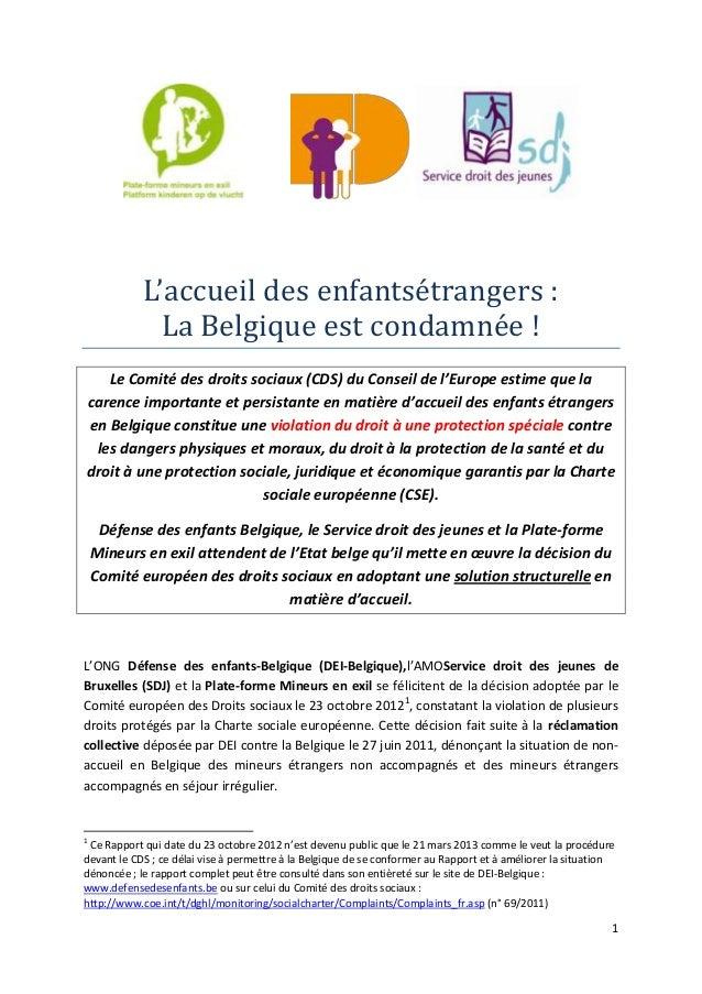 L'accueil des enfantsétrangers :              La Belgique est condamnée !   Le Comité des droits sociaux (CDS) du Conseil ...