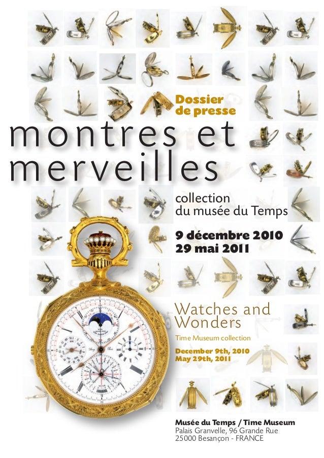 Dossier de presse : exposition Montres et Merveilles au Musée du Temps