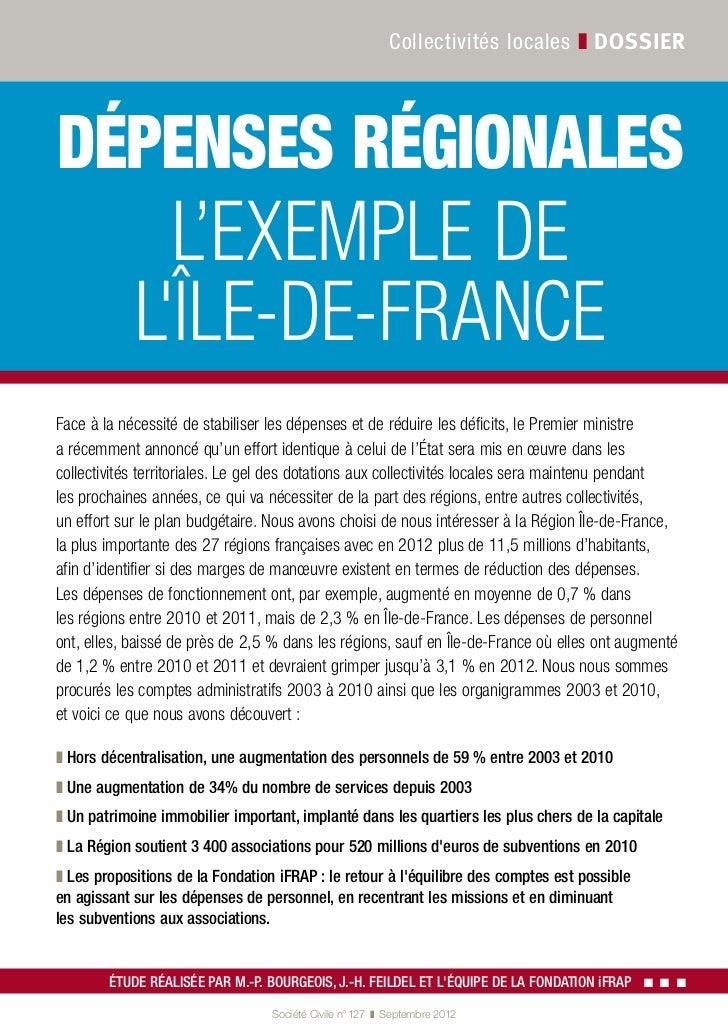 Collectivités locales ❚ dossierdépenses régionales              L'exemple de            lÎle-de-FranceFace à la nécessité ...