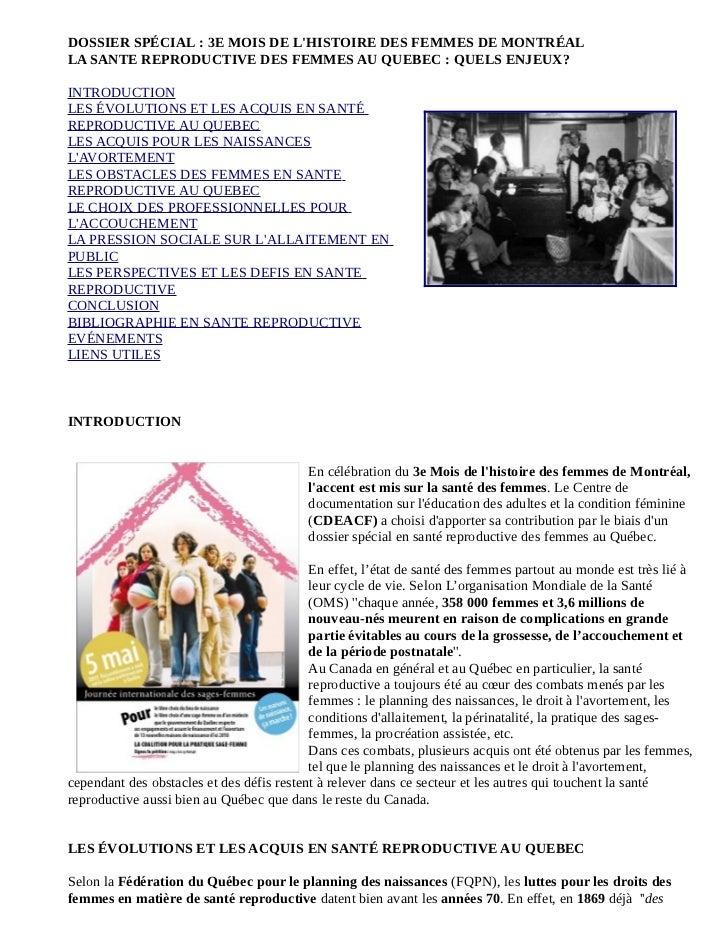 DOSSIER SPÉCIAL : 3E MOIS DE LHISTOIRE DES FEMMES DE MONTRÉALLA SANTE REPRODUCTIVE DES FEMMES AU QUEBEC : QUELS ENJEUX?INT...