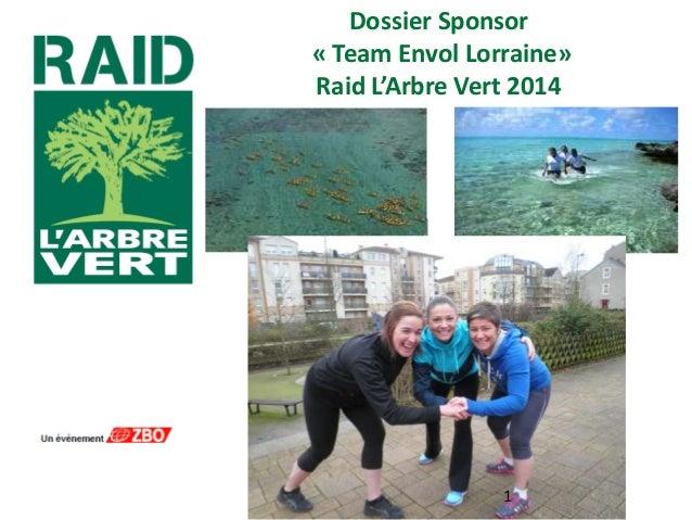 Dossier Sponsor « Team Envol Lorraine» Raid L'Arbre Vert 2014  1