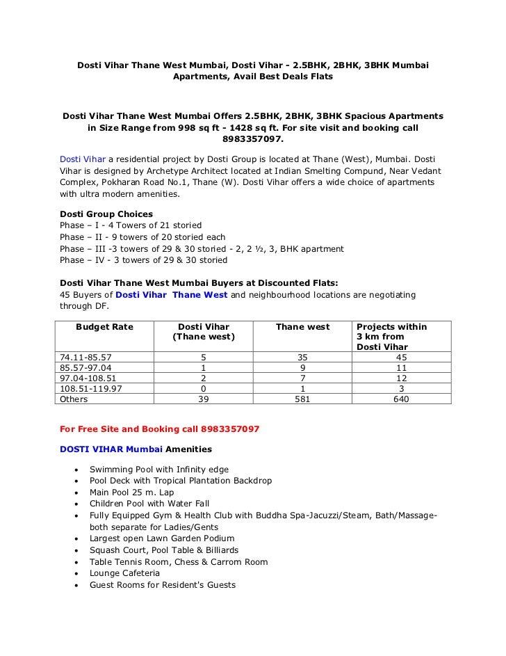 Dosti Vihar Thane West Mumbai, Dosti Vihar - 2.5BHK, 2BHK, 3BHK Mumbai Apartments, Avail Best Deals Flats