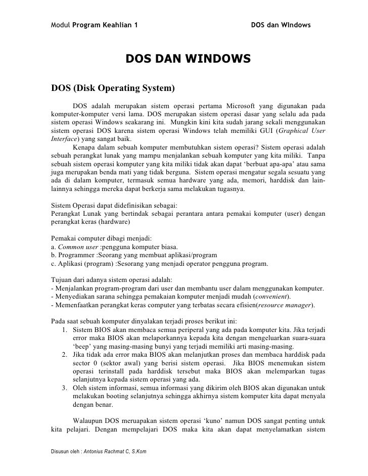 Modul Program Keahlian 1                                           DOS dan WIndows                                   DOS D...