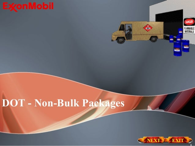 DOT - Non-Bulk Packages                          NEXT   EXIT