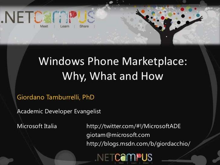 WP7 Marketplace @ .NET Campus 2011