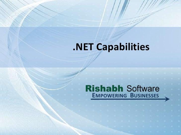 Microsoft .Net Capabilities - Rishabh Software