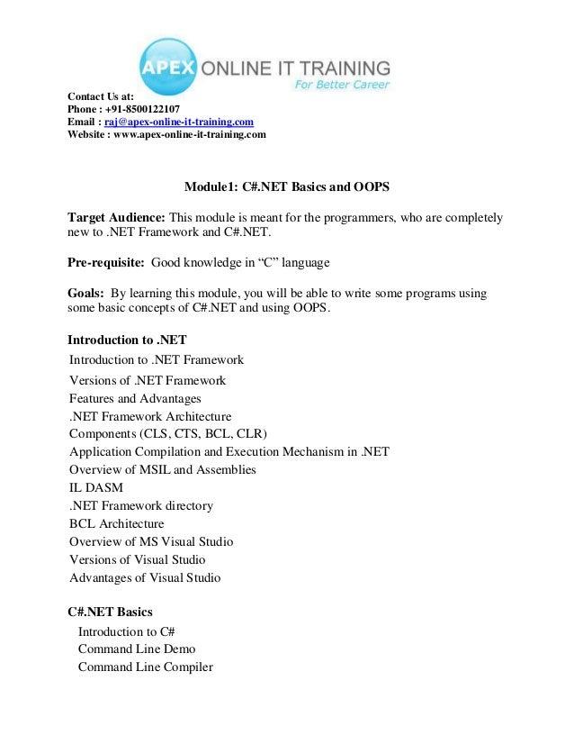 Dot Net ONLINE TRAINING COURSE CONTENT