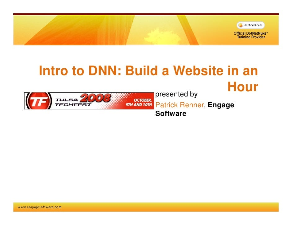 Intro to DNN: Build a Website in an                    presented by                                 Hour                  ...