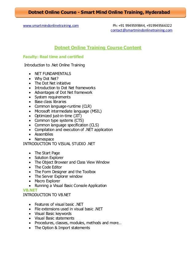 Dotnet online training course content