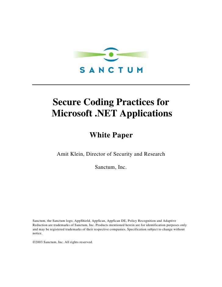 Secure Coding Practices for             Microsoft .NET Applications                                        White Paper    ...