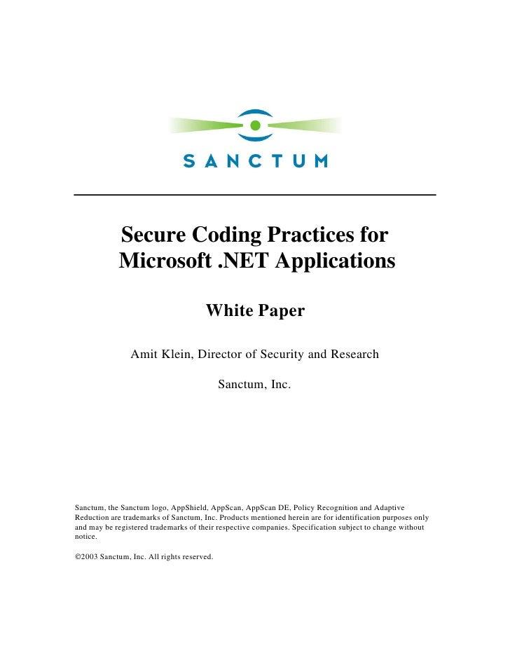 Dotnetsecurecodingpractices