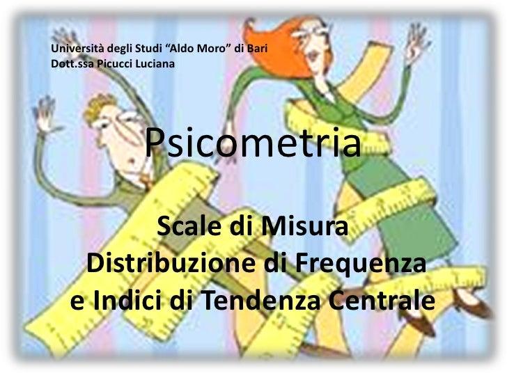 """Università degli Studi """"Aldo Moro"""" di BariDott.ssa Picucci Luciana                 Psicometria          Scale di Misura   ..."""