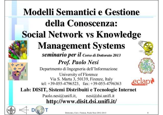 Modelli Semantici e Gestione della Conoscenza: Social Network vs Knowledge Management Systems