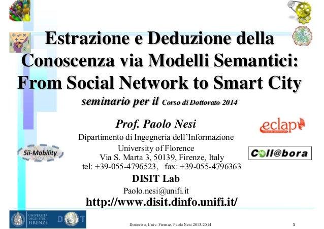 Estrazione e Deduzione della Conoscenza via Modelli Semantici: From Social Network to Smart City seminario per il Corso di...