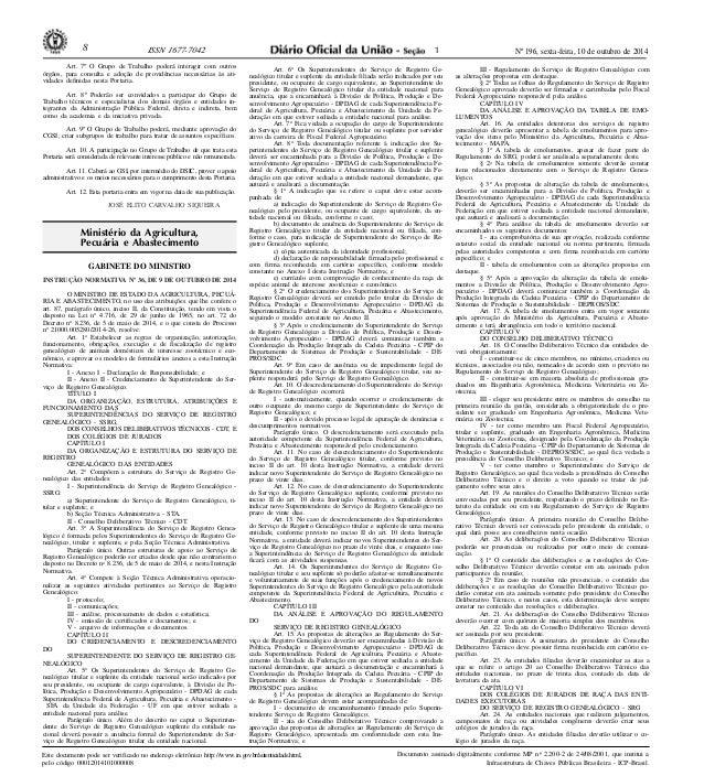 8 ISSN 1677-7042 Nº 196, sexta-feira, 10 de outubro de 2014  Ministério da Agricultura,  Pecuária e Abastecimento  Este do...