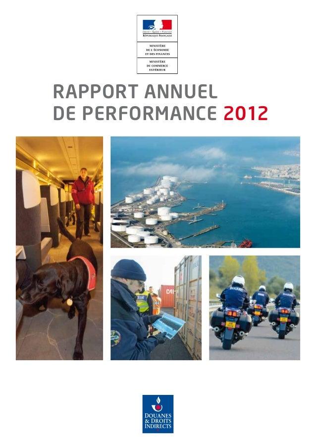 RAPPORT ANNUEL DE PERFORMANCE 2012
