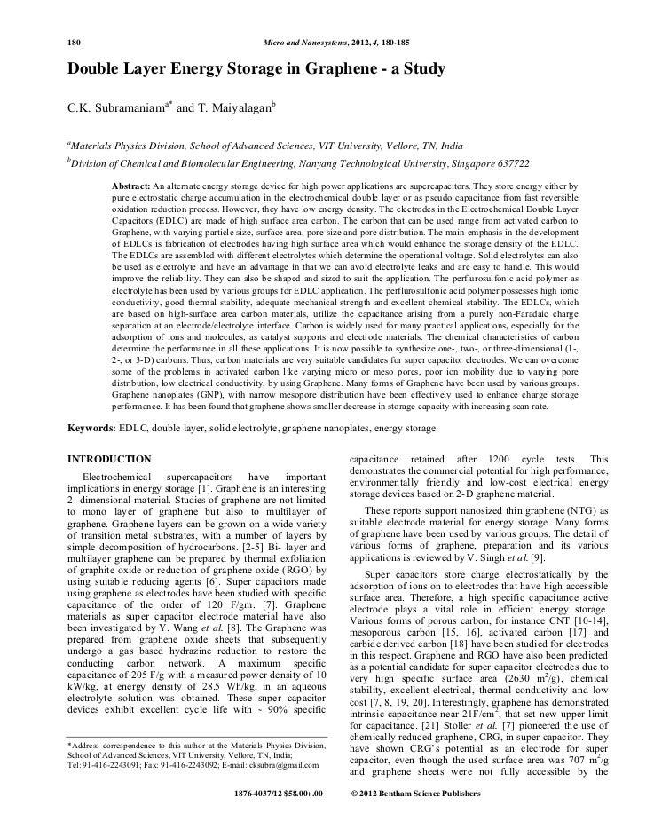 180                                                    Micro and Nanosystems, 2012, 4, 180-185Double Layer Energy Storage ...