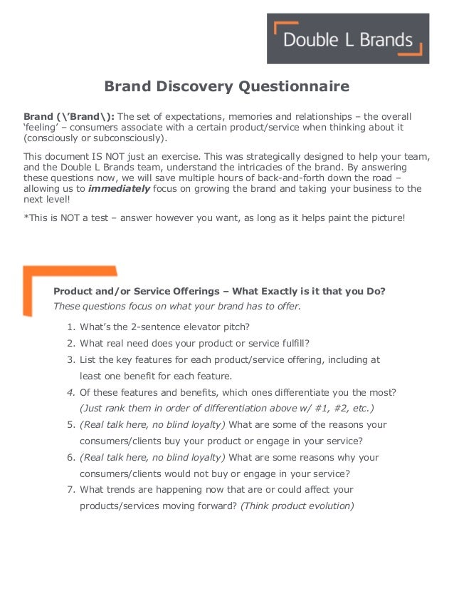 Double L Brands - Brand Discovery Questionaire