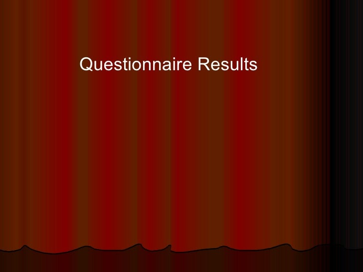Results of Music Magazine Questionnaire