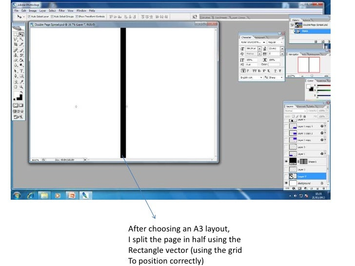 After choosing an A3 layout,I split the page in half using theRectangle vector (using the gridTo position correctly)