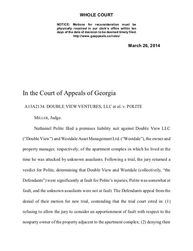 GA Court of Appeals Double View Apportionment
