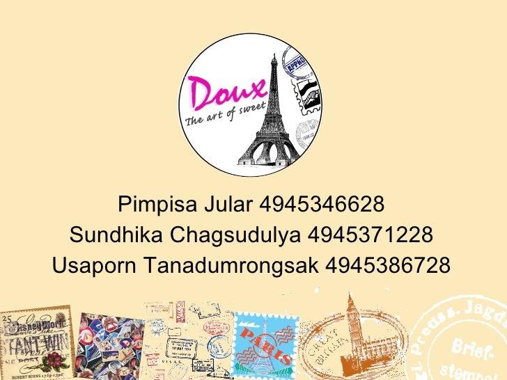 Pimpisa Jular 4945346628 Sundhika Chagsudulya 4945371228 Usaporn Tanadumrongsak 4945386728