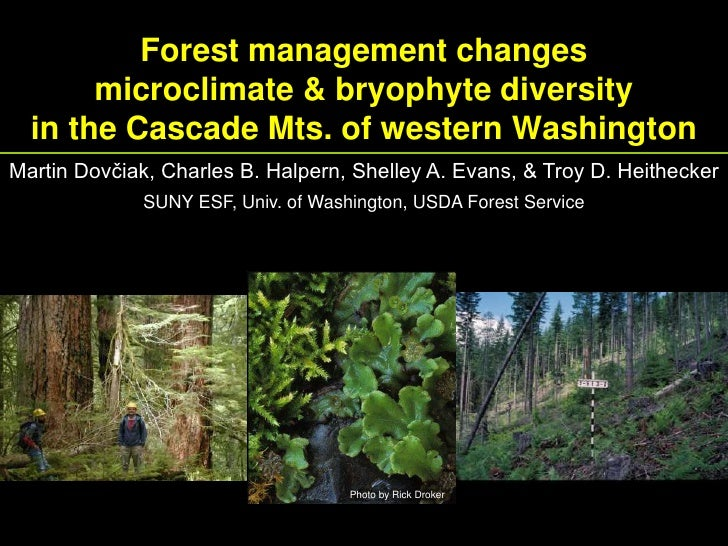 Forest management changes microclimate and bryophyte diversity in the Cascade Mountains of western Washington [Martin Dovciak]