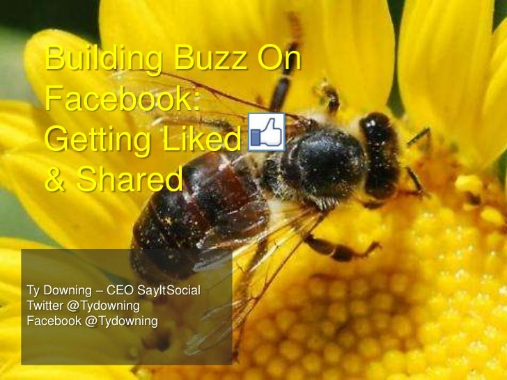 Building Buzz On Facebook: Getting Liked     & Shared<br />Ty Downing – CEO SayItSocial<br />Twitter @Tydowning<br />Faceb...
