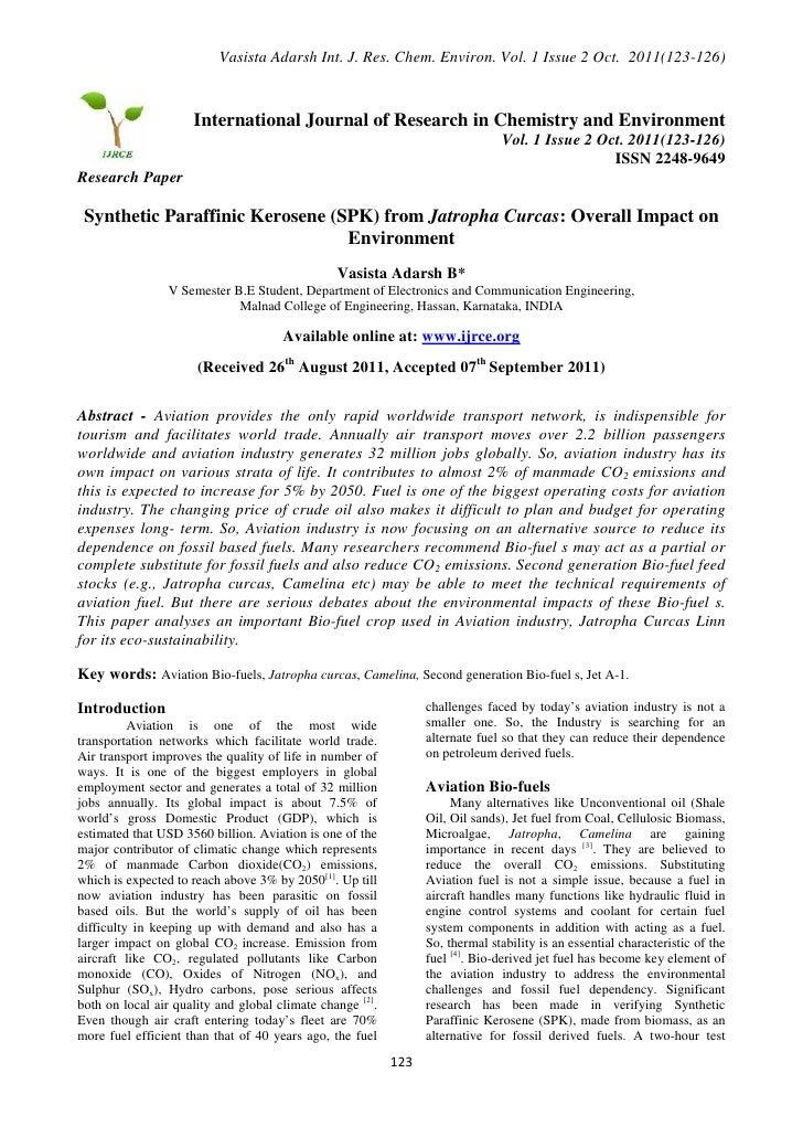 Synthetic Paraffinic Kerosene from Jatropha Curcas