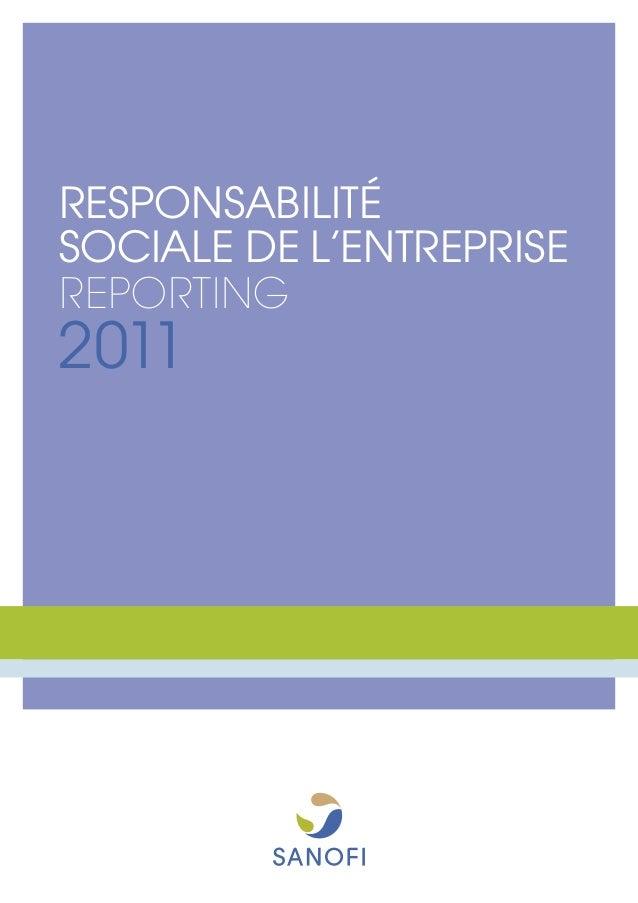 RESPONSABILITÉSOCIALE DE L'ENTREPRISEREPORTING2011