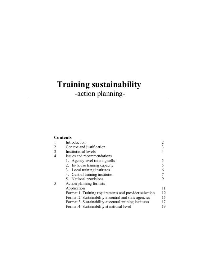 Training sustainability -action planning- Contents 1 Introduction 2 2 Context and justification 3 3 Institutional levels 4...