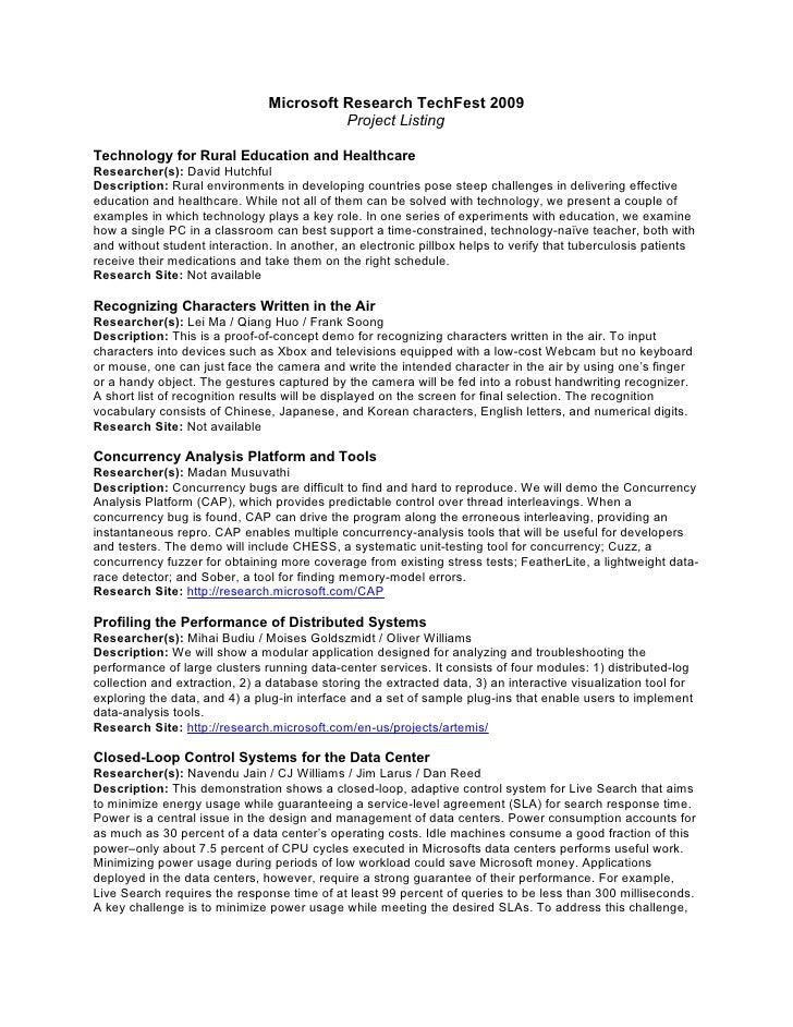 Microsoft Research TechFest 2009                                          Project Listing  Technology for Rural Education ...