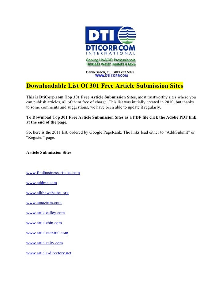 Downloadable List Of 301 Free Article Submission Sites