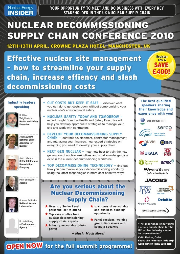 YOUR OPPORTUNITY TO MEET AND DO BUSINESS WITH EVERY KEY                                     STAKEHOLDER IN THE UK NUCLEAR ...
