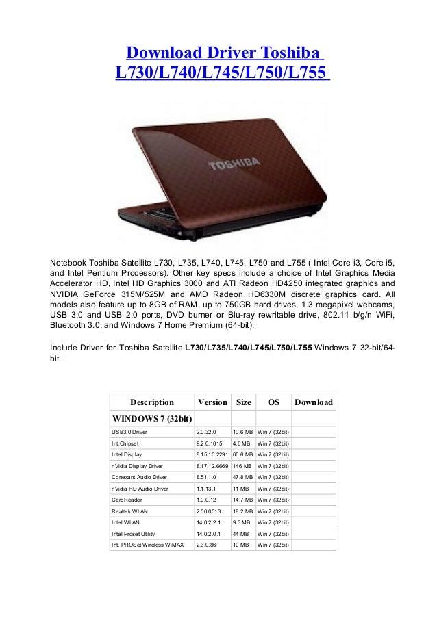 Download Driver ToshibaL730/L740/L745/L750/L755Notebook Toshiba Satellite L730, L735, L740, L745, L750 and L755 ( Intel Co...