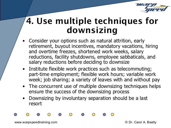downsizing essay Free essay: abstract layoffs, frequently called downsizing, describe the process in which companies remove temporarily or indefinitely a number of employees.