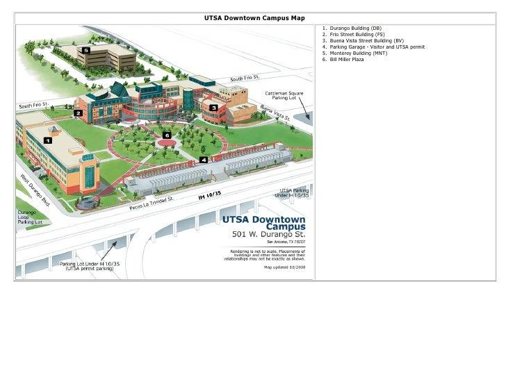UTSA Downtown Campus Map                            1.   Durango Building (DB)                            2.   Frio Street...