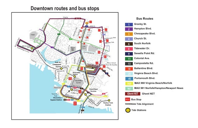 Downtown routes w bus stops