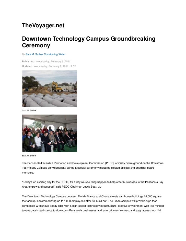 TheVoyager.net<br />Downtown Technology Campus Groundbreaking Ceremony<br />By Sara M. Surber Contributing Writer <br />Pu...