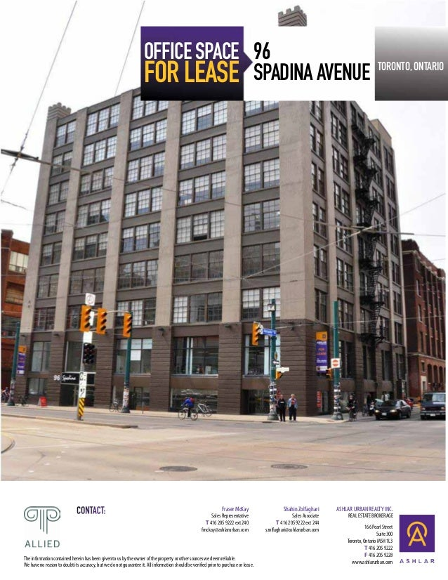 Downtown west toronto office space for lease